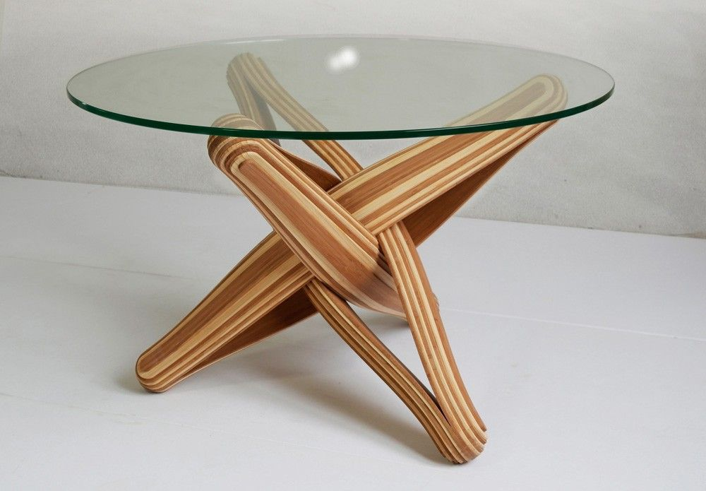Lock Coffee Table Uses Flexible Bamboo Layers Bamboo Coffee