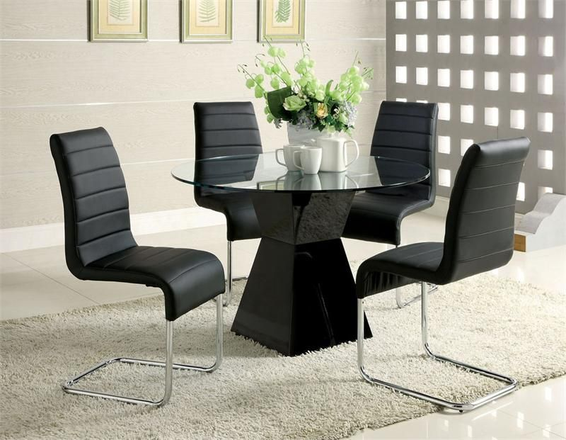 Mauna Contemporary Style Glass Table Top With Black Base. Brighten Up Any  Dining Room With This Contemporary Round Glass Dining Set.