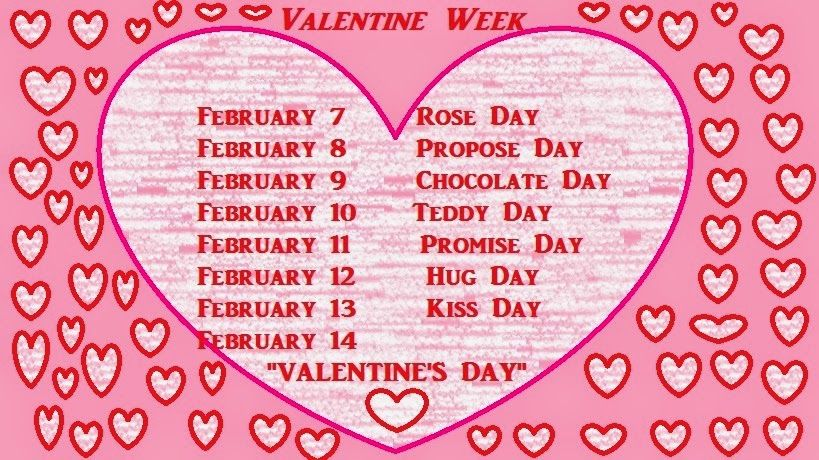 Valentine Week List 2016 Dates Schedule Chart Calendar Happy