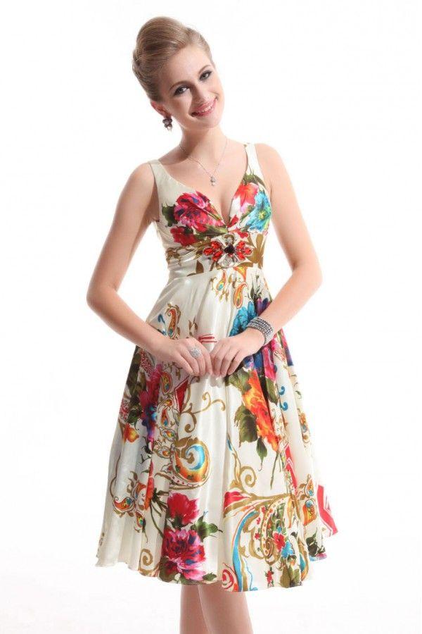 Vintage Floral Empire Waist Dress - Cream | Cocktail Dresses ...