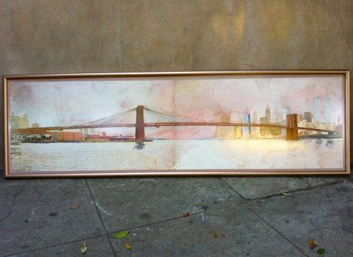 Vintage long picture of bridge & cityscape via TINI