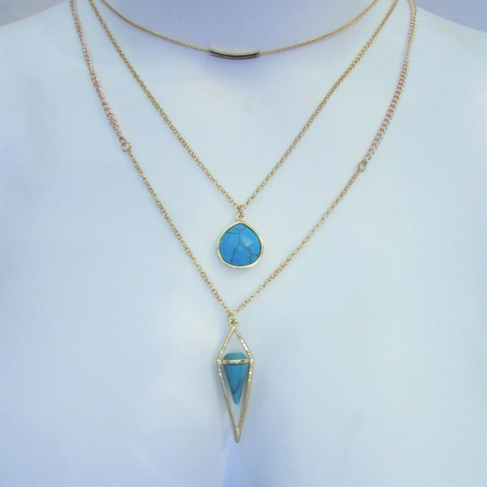Steve Madden 3 Layer Necklace Turquoise Stone & Gold Chain NWT  #SteveMadden #Layered