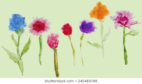 Watercolor colorful vector flowers on the green background Watercolor stains Isolated watercolor flowers