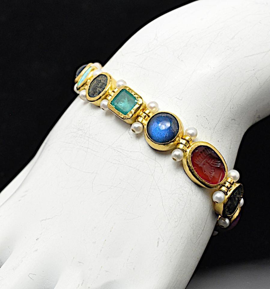 k One Of A Kind Rune Bracelet WEmeralds Opals Pearls Jewelry