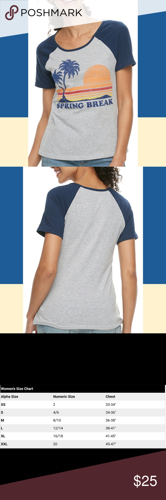 """📢 """"Spring Break"""" Heather Gray & Blue Graphic Tee 📢 Means BOGO Free!   You don't have to be a college student to go on Spring Break! Yeah, I know…"""