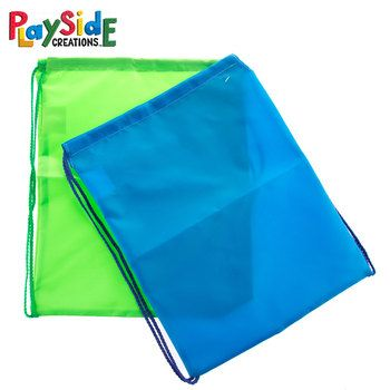 Bright Blue & Green Nylon Drawstring Bags