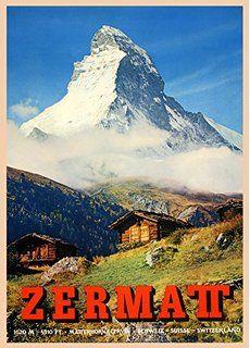 Vintage Travel Switzerland For Zermatt And The Matterhorn At 5310 Feet 250gsm Gloss Art Card A3 Repr Vintage Ski Posters Vintage Posters Vintage Travel Posters