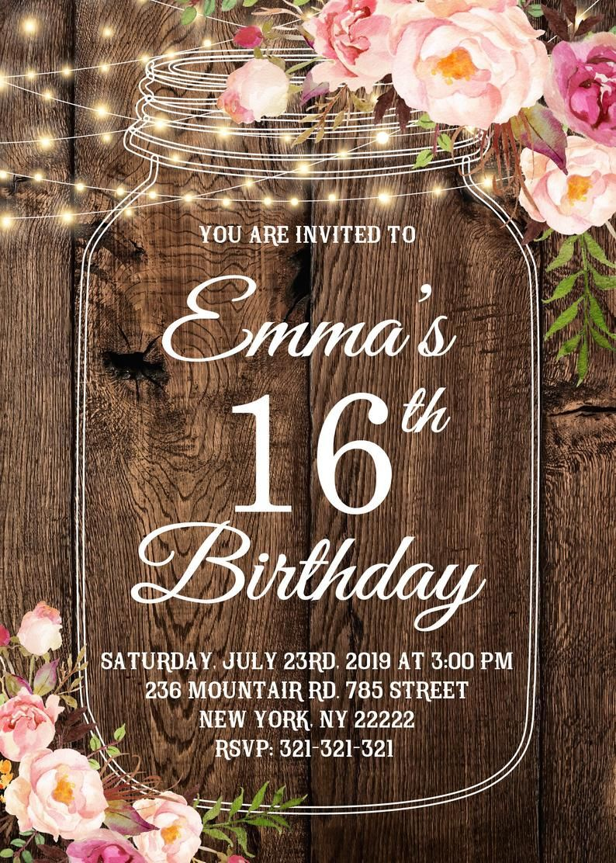 Mason Jar Sweet 16 Birthday Invitation Floral Sweet Sixteen Etsy In 2020 16th Birthday Invitations Sweet Sixteen Birthday Sweet Sixteen Birthday Invitations