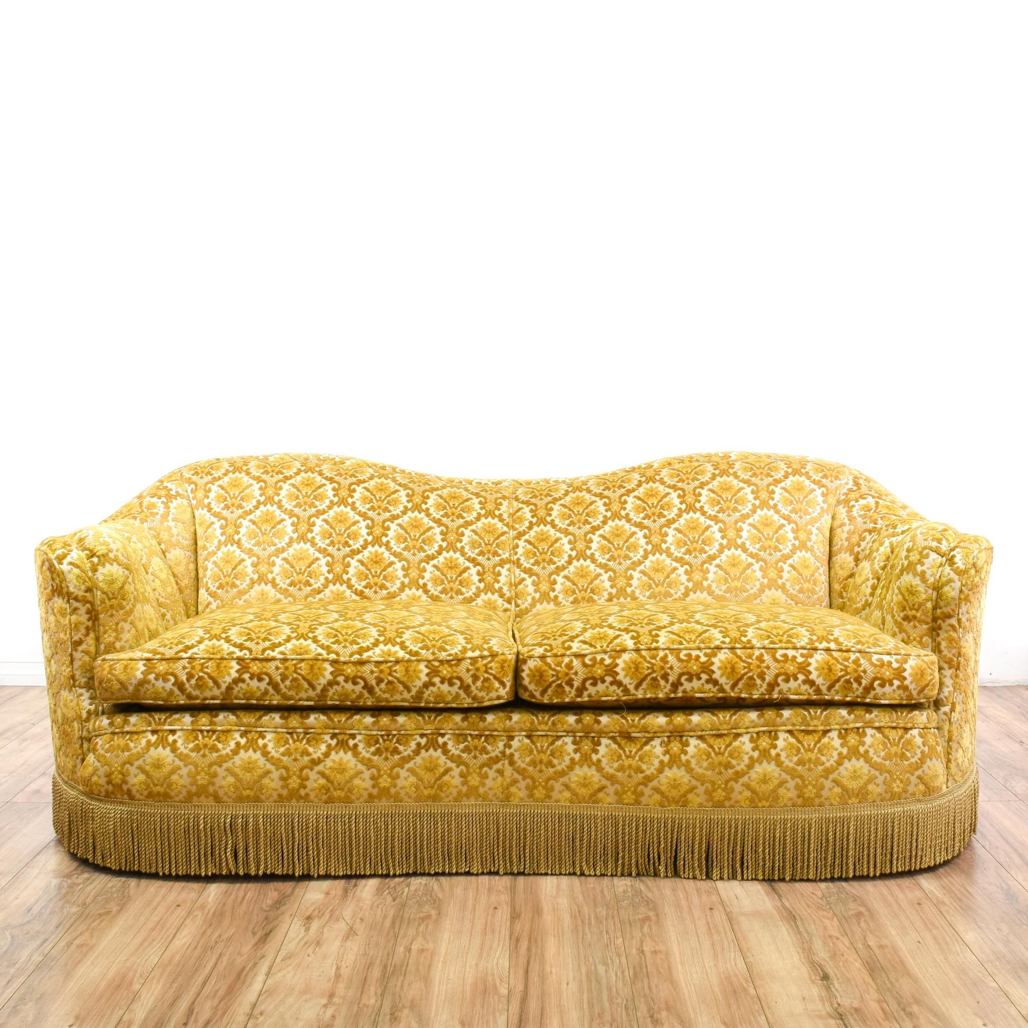 This Gorgeous Hollywood Regency Style Couch Has Fringe Trim, Plush