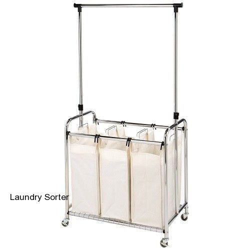 3 Bag Rolling Laundry Sorter With Hanging Bar Dirty Clothes Hamper