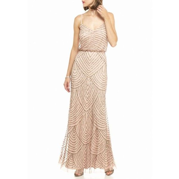 Adrianna Papell Blush Beaded Mesh Blouson Gown - Women\'s ($260 ...