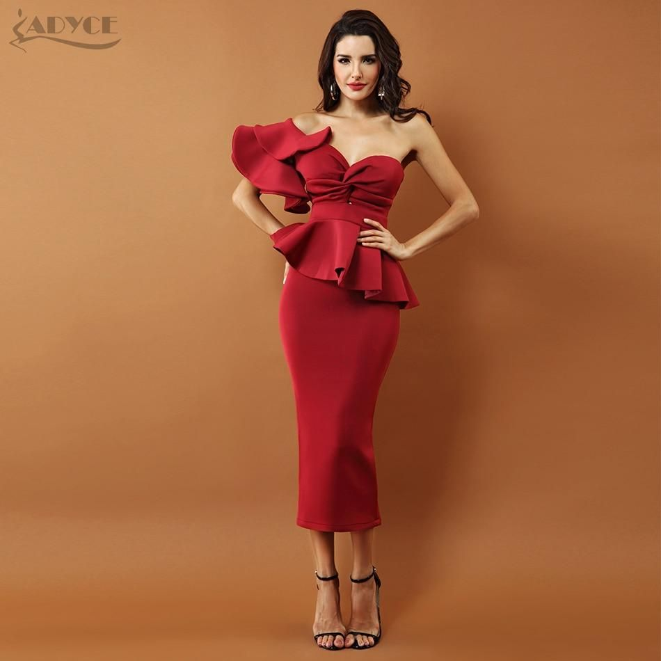 2de55a2b4ff Celebrity Evening Party Dress Women 2018 Sexy Bodycon Sets One Shoulder  Ruffles Short Sleeve Strapless Club Dress Vestidos