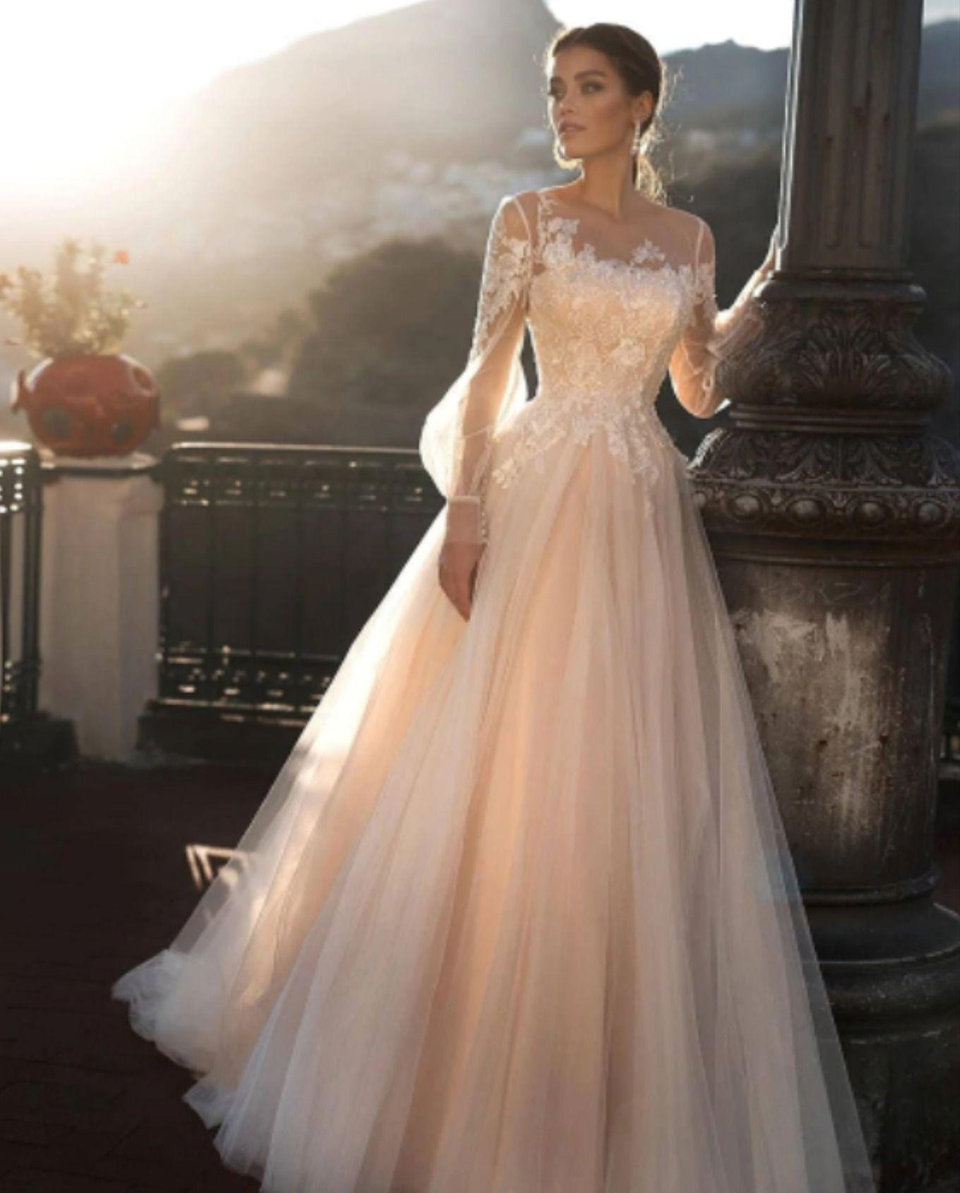 Aline long sleeves Wedding Dress in 2020 Pink wedding