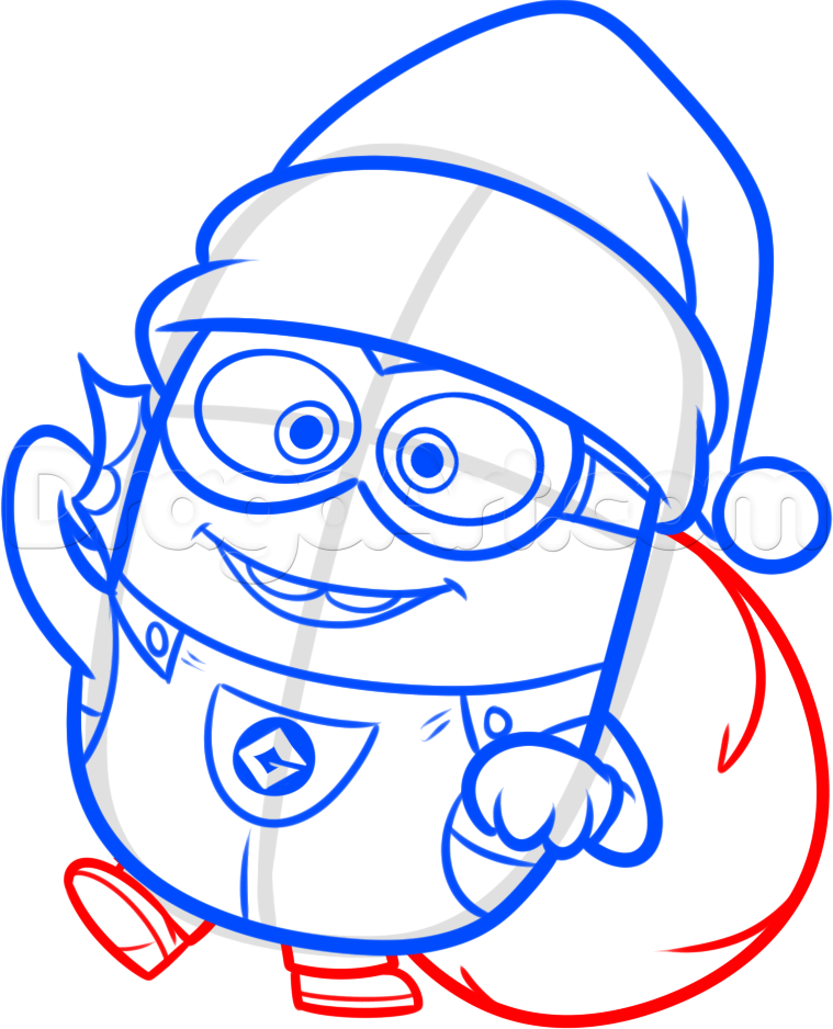 How To Draw A Christmas Minion Step 10