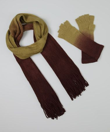 Take a look at this Green & Brown Ombré Gloves & Scarf by Jeanne Simmons Accessories on #zulily today!