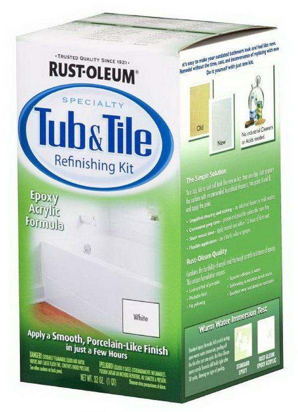 Easy DIY Bathtub Refinishing and Tile Kit 2 Part Epoxy Kit (White ...