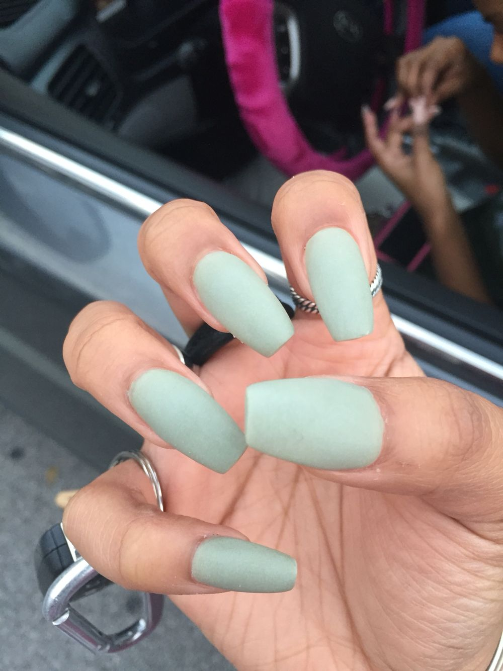 Matte olive acrylic coffin nails | Nails in 2018 ...