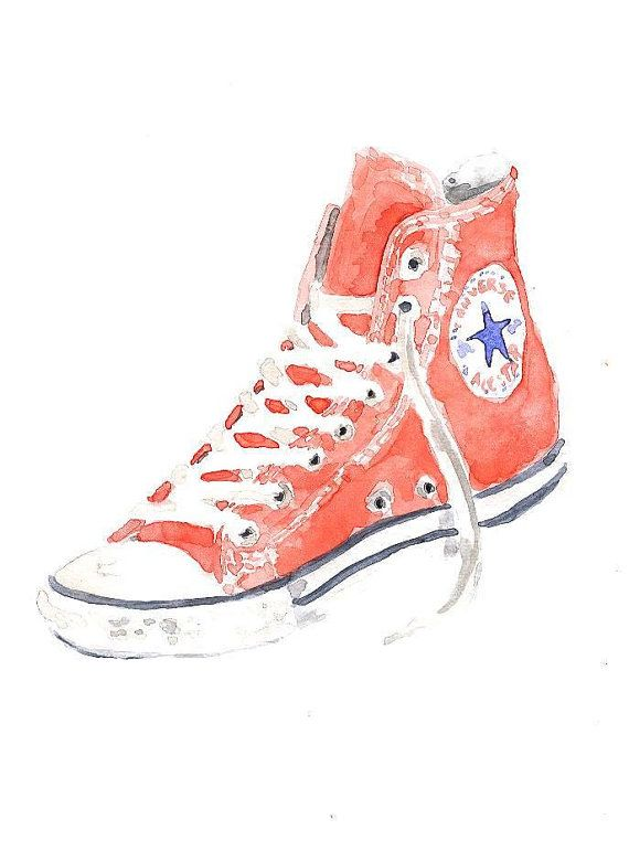 9d71305332993 CONVERSE ALL STAR shoes Original watercolor painting by Mydrops ...