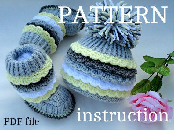 Crochet P A T T E R N tejer botines bebé sombrero por Solnishko43 ...