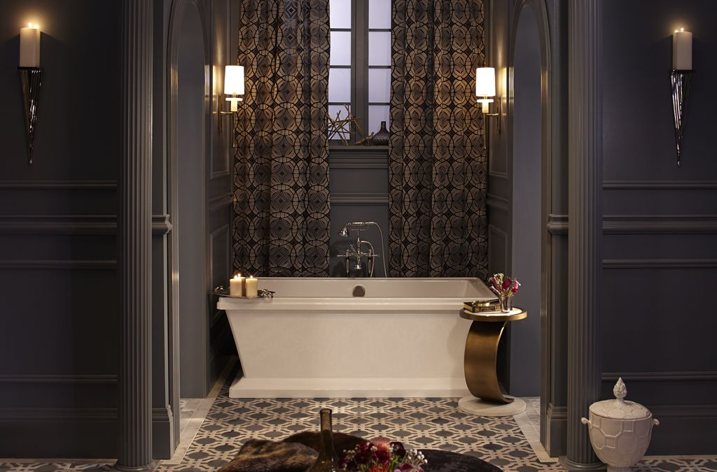 Dxv Art Deco Bathroom With Traditional Freestanding Tub Filler In Polished Chrome The Ultimate Gui Art Deco Bathroom Vanity Art Deco Bathroom Bathroom Design