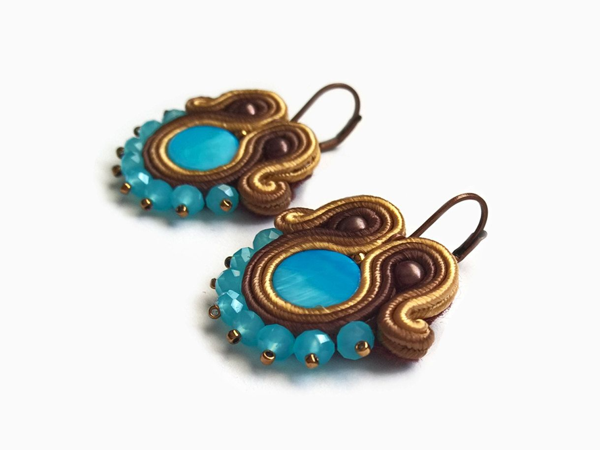229b392f098d53 Turquise Indian Jewelry Blue Soutache Earrings by RenaTienda. Cerca questo  Pin e ...
