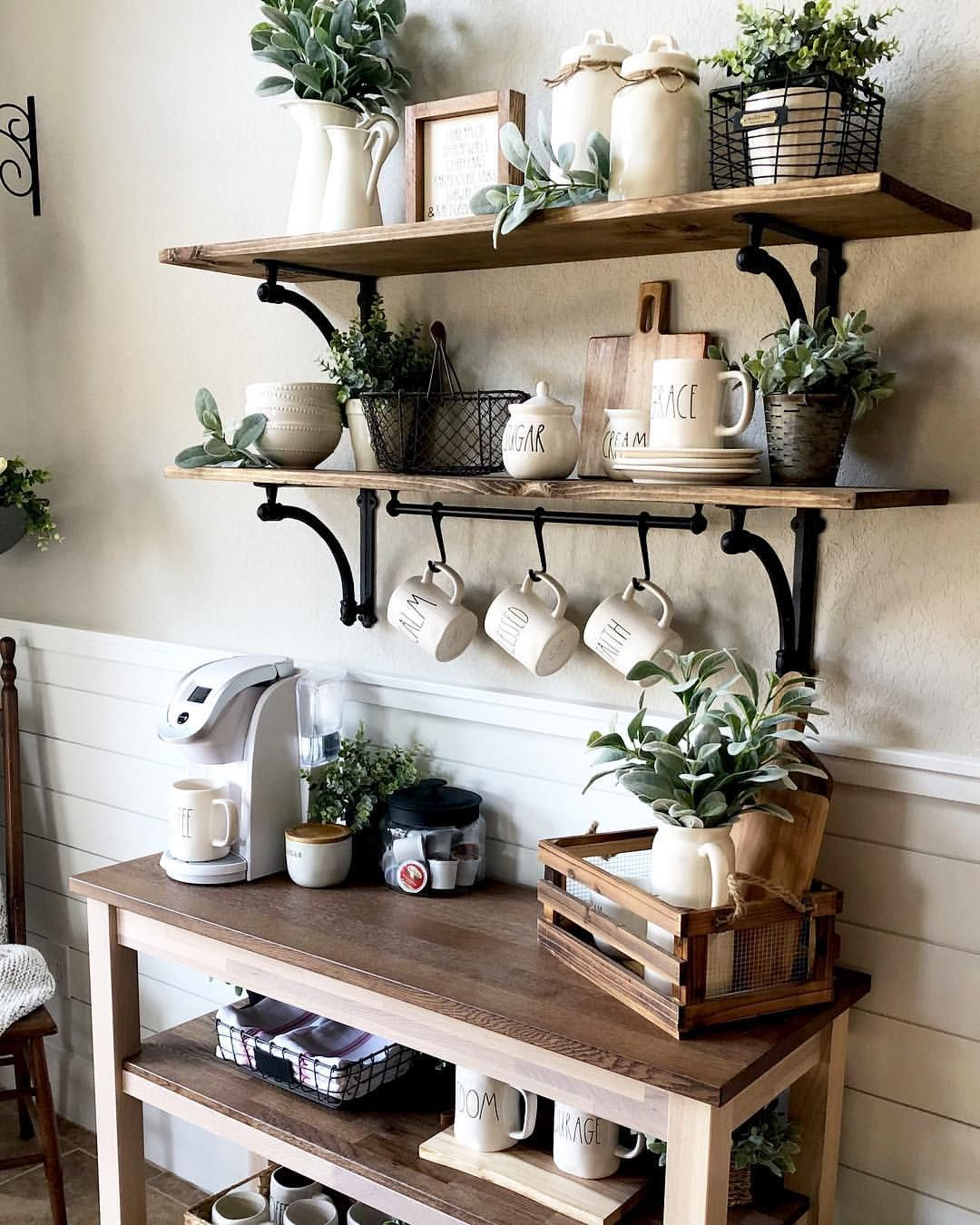 Home Coffee Bar Design Ideas: Farmhouse Coffee Bar With Open Shelving