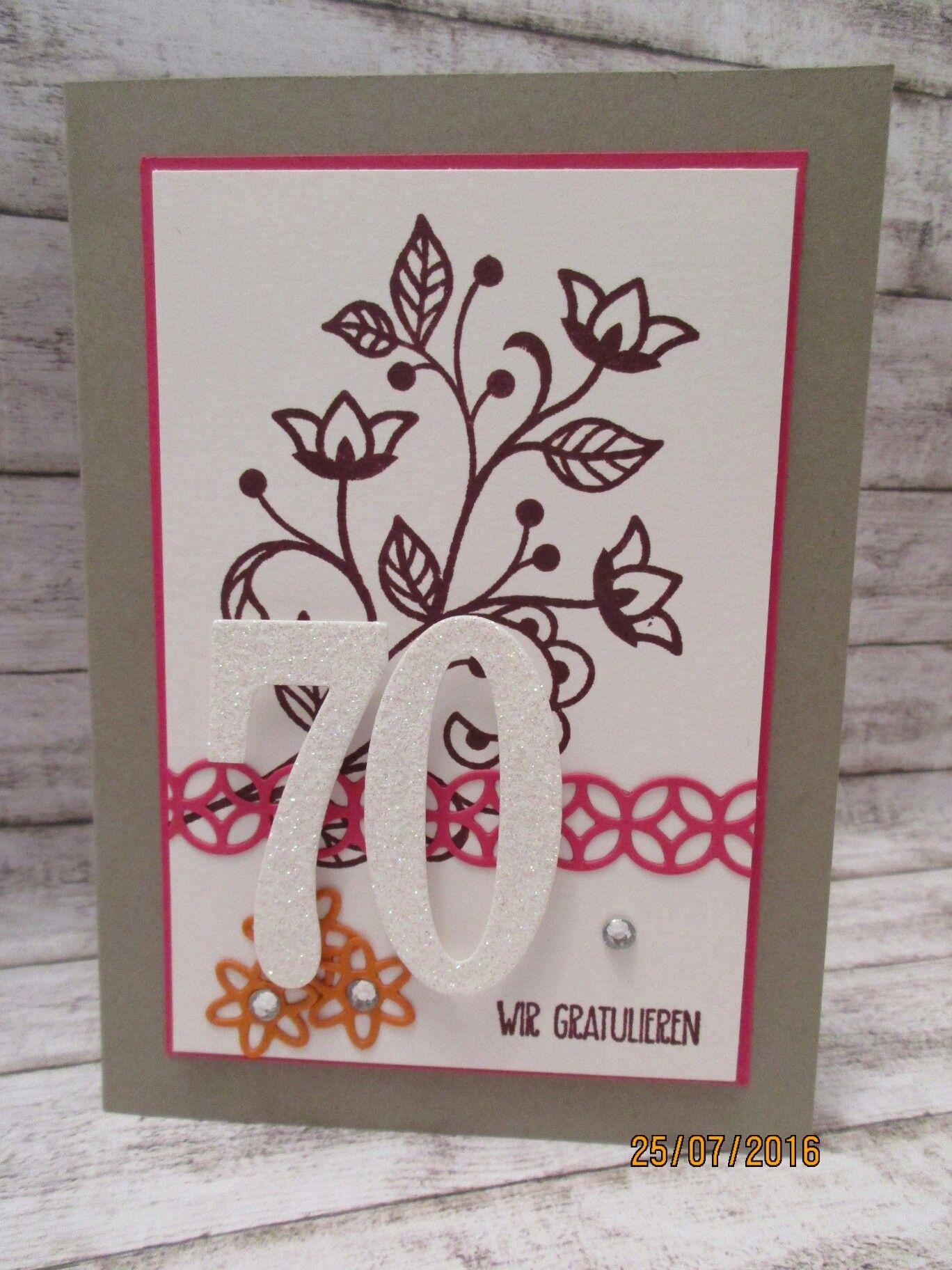 """Glückwunschkarte zum 70zigsten Geburtstag - Stempelsets """"Blühende Worte"""" sowie """"Grüße voller Sonnenschein""""  und Framelits """"Blütenfantasie"""" und """"Große Zahlen"""""""