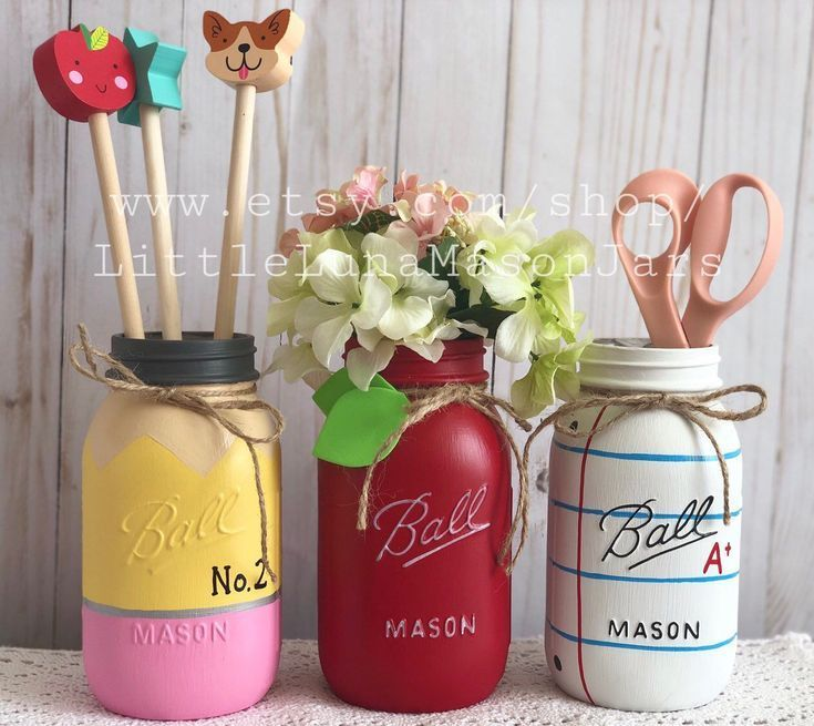 Quart sized back to school glass jar desk decor, teacher gift, teacher appreciation, apple jar, notebook paper jar, pencil jar