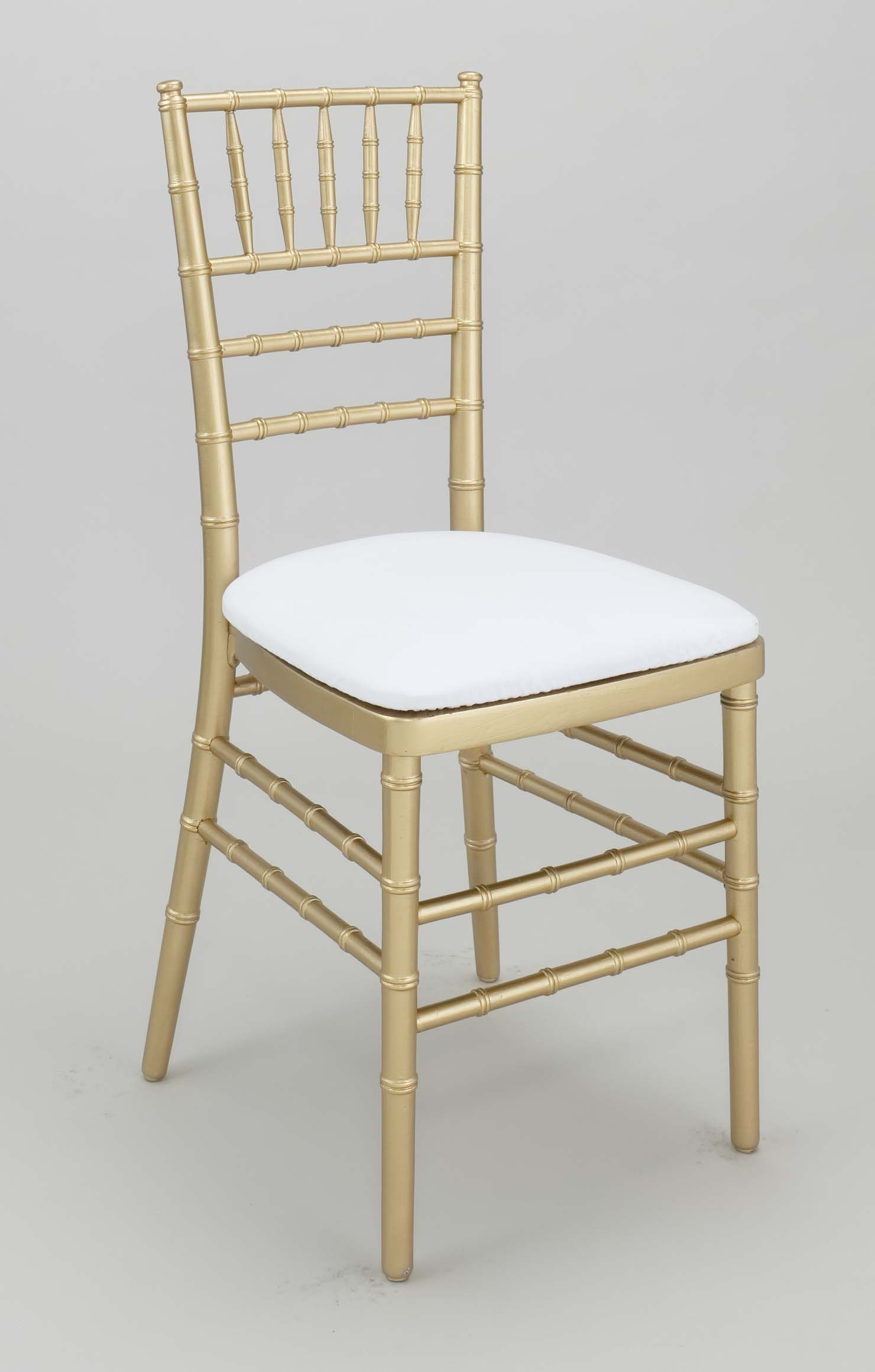 Gold Chiavari Chair with white cushion for each guest Maria to