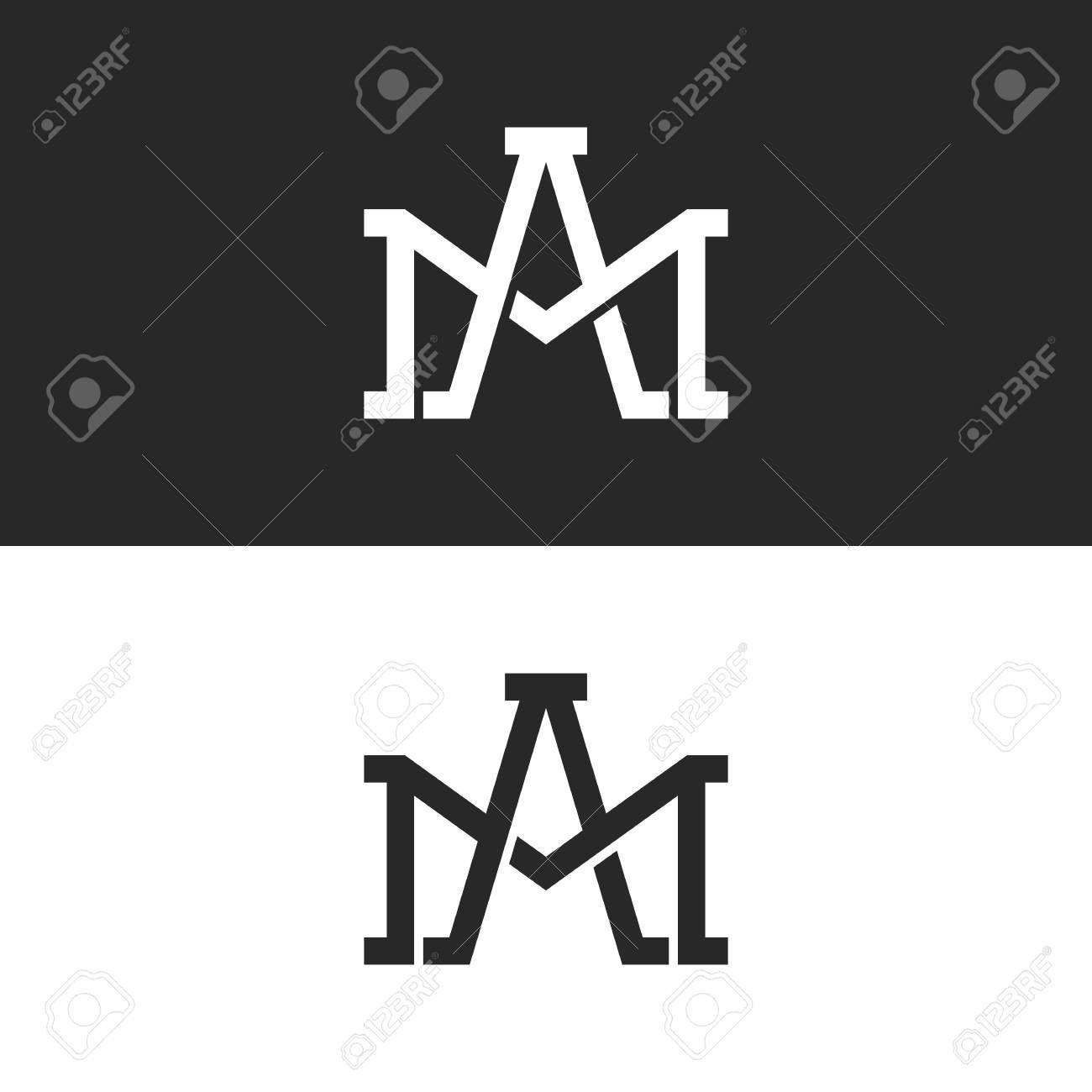 Monogram initials AM or MA letters logo design mockup