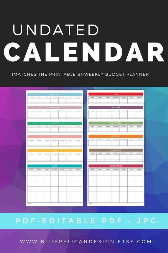 Blank calendar Printable Calendar Bills Schedular | Etsy ...
