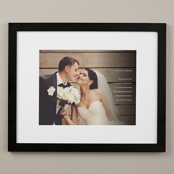 Framed Wedding Pictures With Personalized Text Overlay 16x20 Custom Photo Frames Wedding Frames Photo Frame