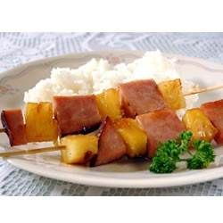 Cooked Ham And Pineapple Chunks Threaded On Skewers And Coated With A Zesty, Sweet Glaze.