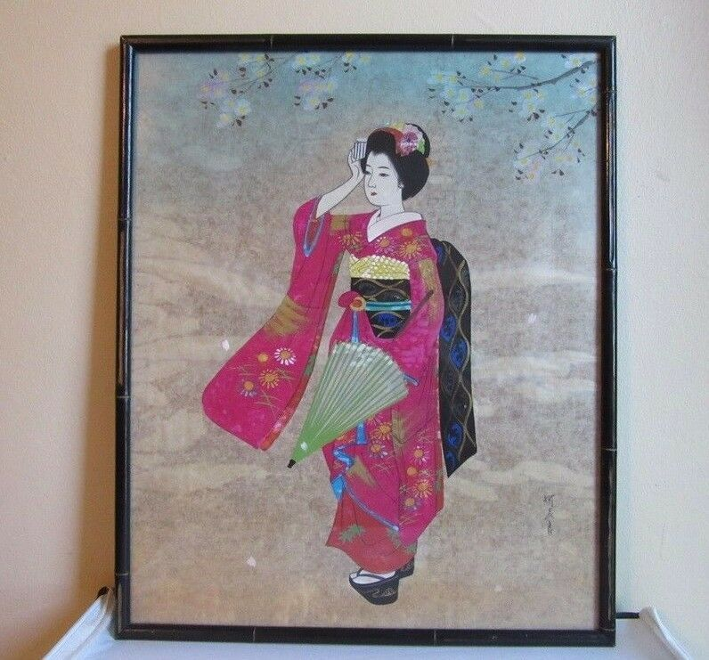Vintage 1940 039 S Signed Hand Painted Japanese Geisha Girl On