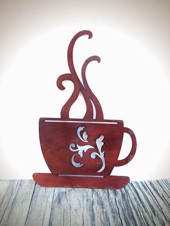 BOLD laser cut metal coffee cup kitchen wall art // brick red ...