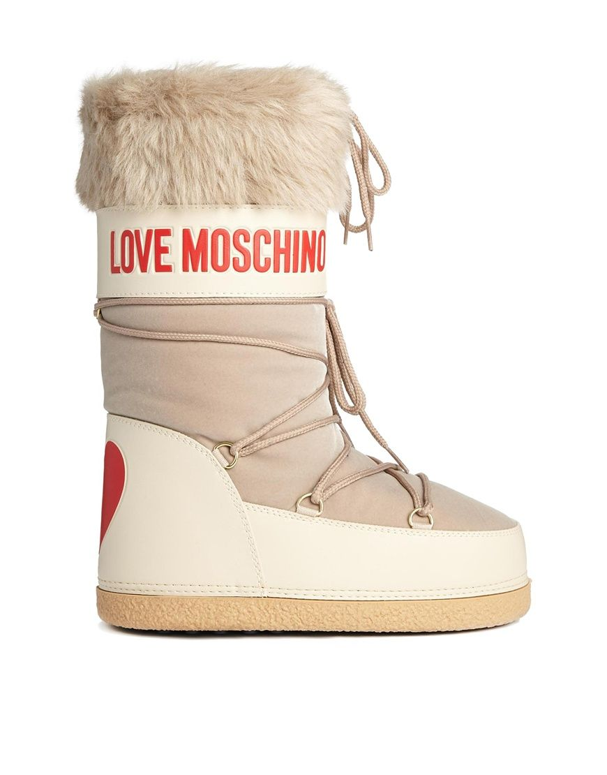 custom new style new lifestyle Love Moschino Beige Snow Boots With Faux Fur Trim | SHOES <3 ...