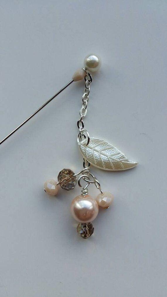 """Hijab scarf Pin 3/"""" Hatpin Abaya Silver Ivory Glass Pearl Bead Pin Protector"""