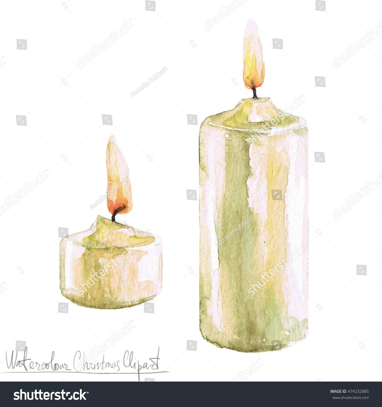 christmas watercolor candles Yahoo Image Search Results