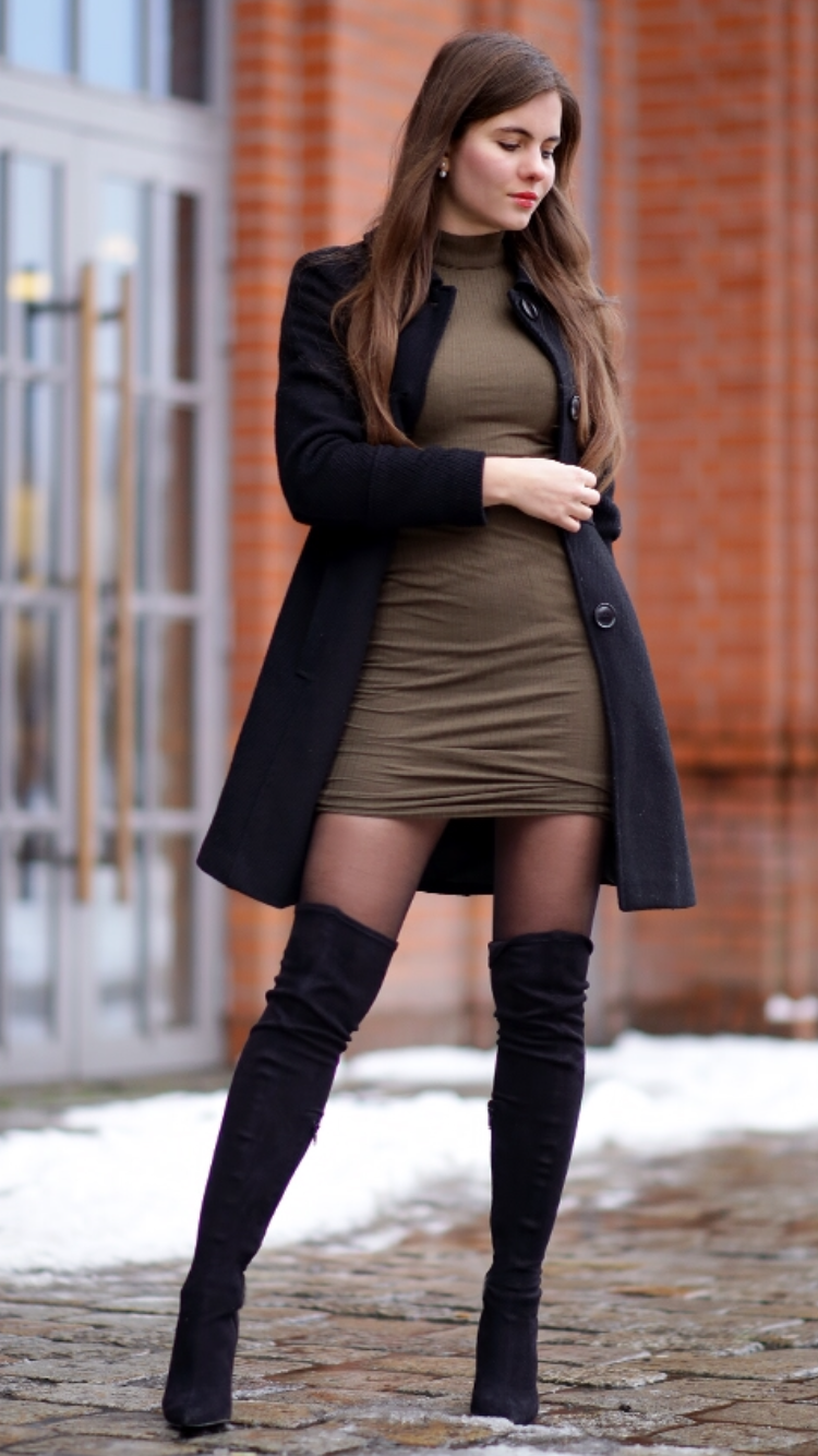 Women in boots and black pantyhose