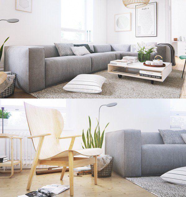 Carpet Designs For Living Room Scandinavian Living Room Design Modern Gray Sofa Gray Carpet Wood