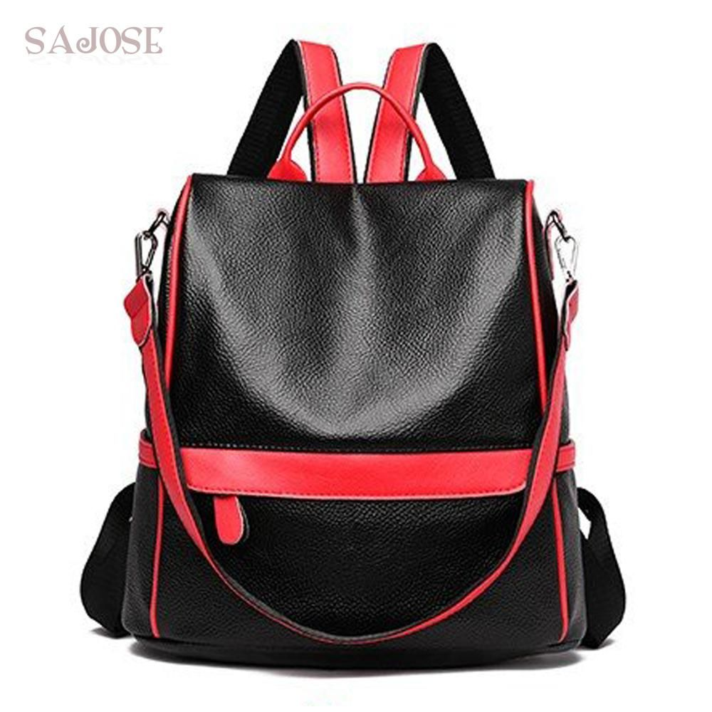 9cb6ef9e03 Women Leather Fashion Backpacks Medium Student Black Vintage Simple Backpack  For Teenage Girls Shoulder School Bag Drop Shipping. Yesterday s price  US  ...