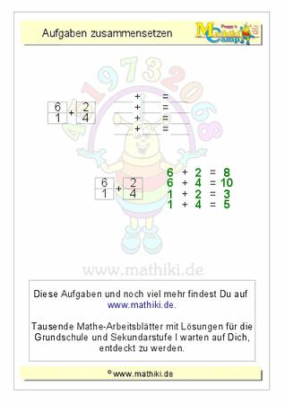 Aufgaben zusammensetzen: Addition bis 10 - ©2016, www.mathiki.de ...
