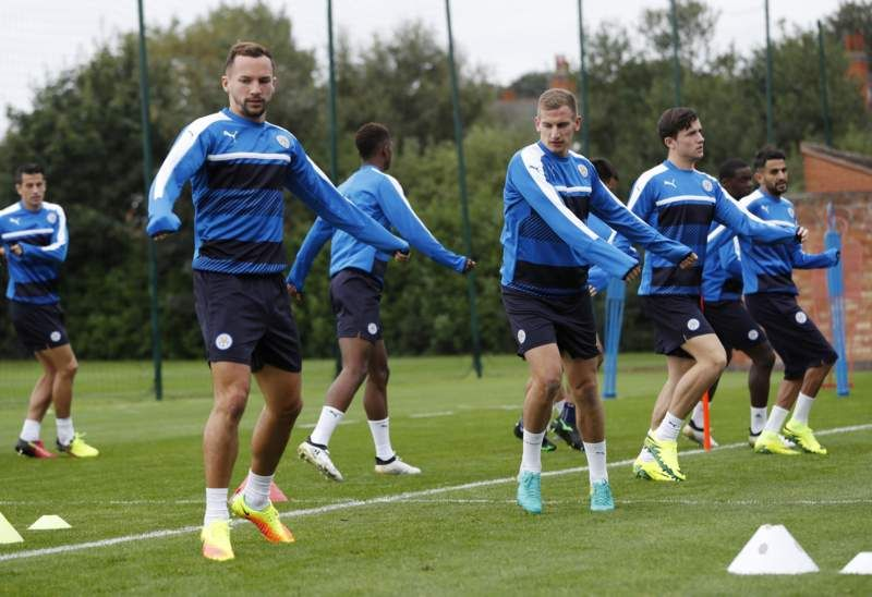 Leicester City in training