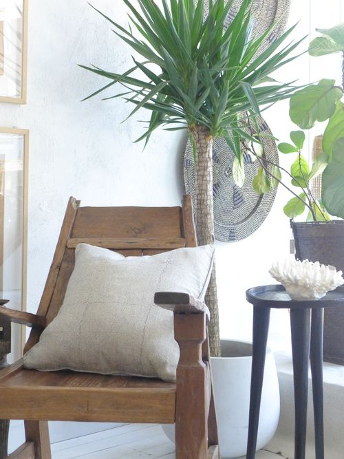 Great use of plants to provide pops of color against neutrals.