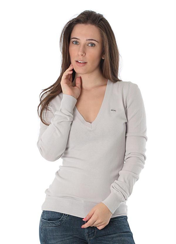 61ad0abd0affc Sueter Feminino Tricot V Bliss (Cinza) Lacoste