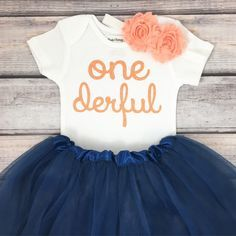 One-derful First birthday outfit girl peach and navy birthday outfit 1st birthday girl outfit Baby girl first birthday outfit Onederful #firstbirthdaygirl