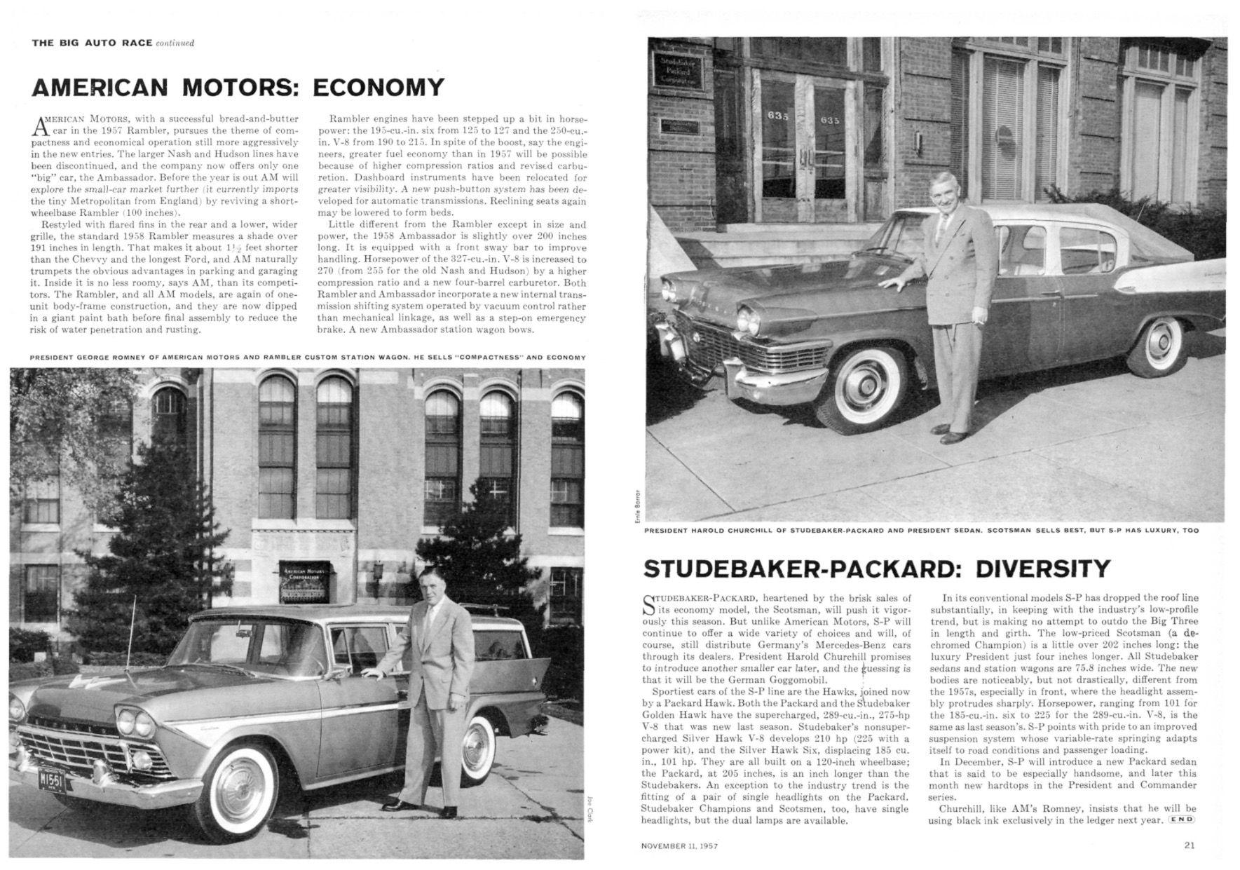 1957 Sports Illustrated Article American motors, Car