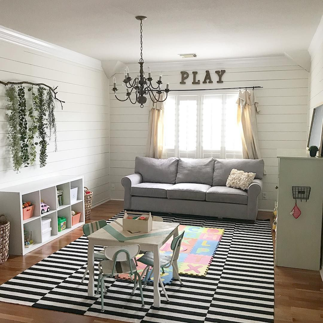Playroom: Farmhouse Playroom, Shiplap, DIY, Dropcloth Curtains, PLAY