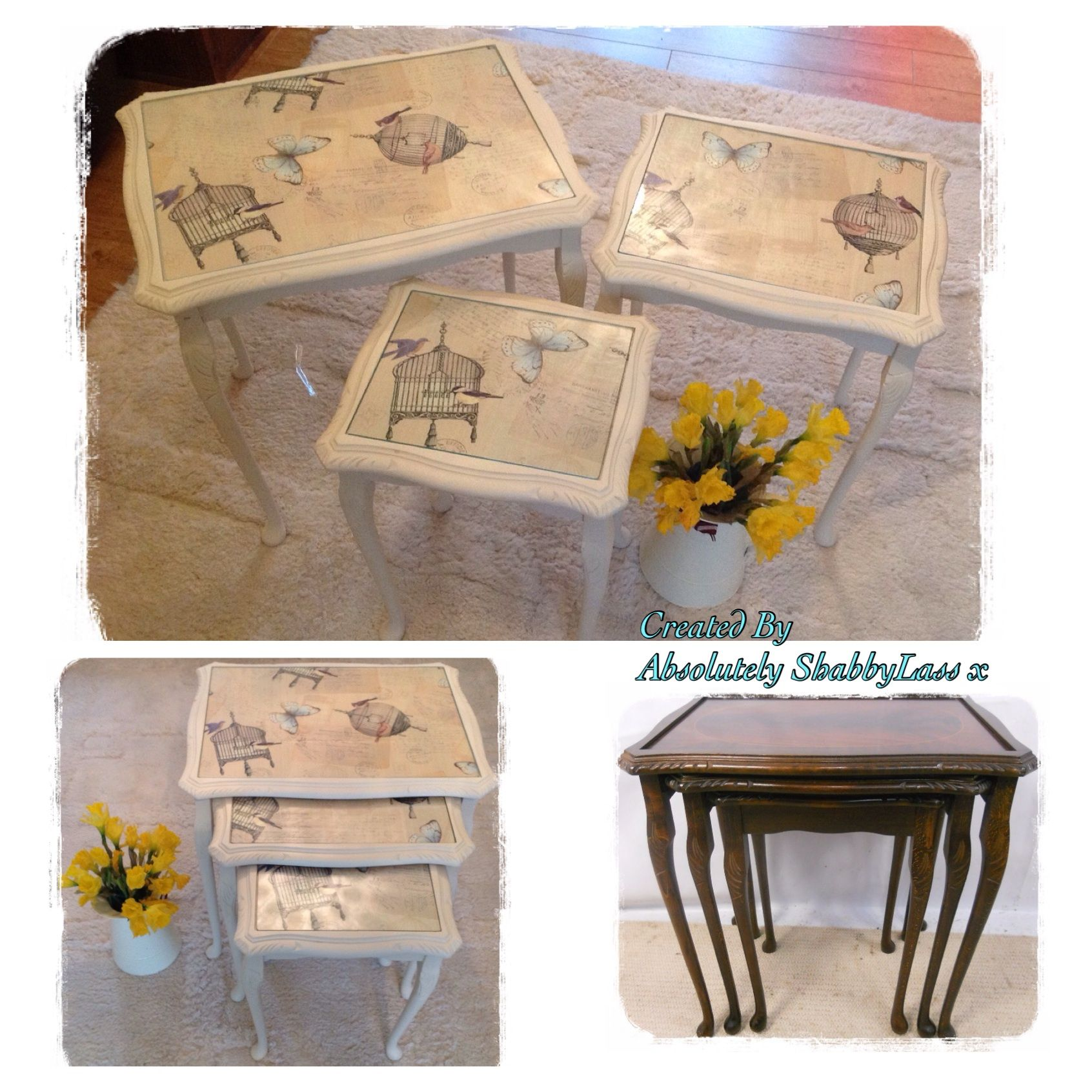 Nest tables with Birdcage oilcloth