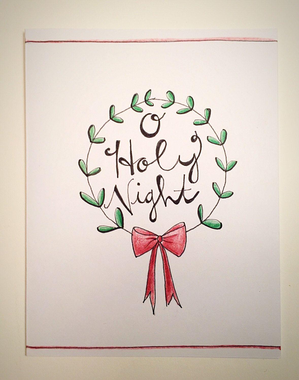 O Holy Night Christmas Card, holiday card, wreath, holly